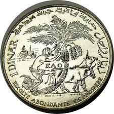 elf Tunisia 1 Dinar 1970 Silver FAO Farmer Oxen Palm