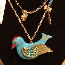 BETSEY JOHNSON LARGE CRYSTAL BIRD PENDANT FLIGHTS OF FANCY NECKLACE NEW