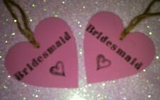 2 x Hand painted & stamped bridesmaid pink, wooden heart.Rustic, vintage wedding