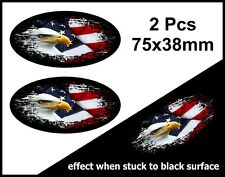 2Pcs Oval FADE TO BLACK American Eagle & US Flag vinyl car sticker Decal 75mm
