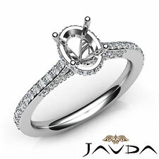 Oval Cut Diamond Lustful Engagement Pave Setting Platinum Semi Mount Ring 0.65Ct