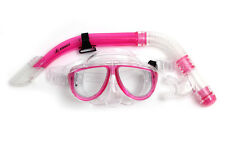 Kids Snorkeling Mask & Snorkel Set Silicone Tempered glass Lenses Scuba Pink NEW