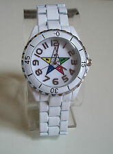 WHITE PAINTED FINISH WITH EASTERN STAR DIAL  ELEGANT  WATCH