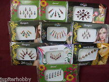 10 Different Packets- BINDIS WITH CRYSTALS ORNATE BINDI TATTO - FREE SHIPPING