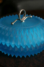 Vntg Powder Candy Bowl Frosted Glass Blue Diamond Cut-Design Metal Handle