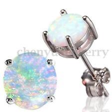 925 Sterling Silver Australian White Round Fire Opal Ear Stud Gemstone Earrings