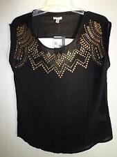 Urban Outfitters Ecote black sheer stud top triangle cut out back design SZ S