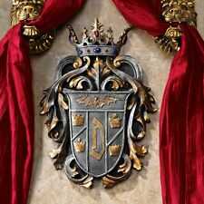 COUNT DRACULA MEDIEVAL COAT OF ARMS CROWN JEWELED PLAQUE WALL SCULPTURE NEW