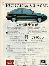 Publicité Advertising 1991  ROVER 214 Si Coupé