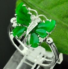 LADIES NATURAL GRADE A BUTTERFLY JADE    & DIAMOND RING white gold  18K