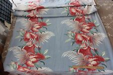 "Pretty Sky Blue & Red Tropical Vintage Barkcloth Fabric Curtain~5yds9""LX47""W"