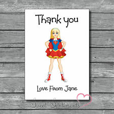 Personalised Superhero Girl Kids Thank You Card / Notes  - 12 with Envelopes