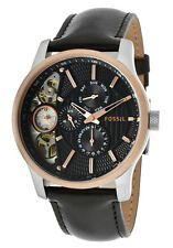 Fossil Men's ME1099 Black Leather Textured Black Cutaway Chronograph Watch