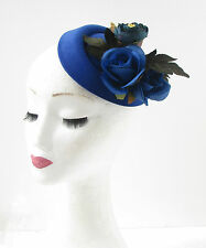 Royal Blue Rose Flower Pillbox Hat Fascinator Races Headpiece Vtg Rockabilly 248