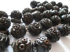 Vintage Antique Large Carved Wood or nut Bead necklace prayer Coquilla Victorian