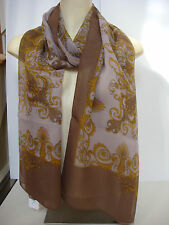 Versace Kaleidoscope Printed Pure 100% Silk Scarf Tan Gold 26X80 Made in Italy