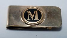 "Vintage Collectible  Letter ""M""  In Circle  Enamel & Silver Tone Money Clip Used"