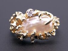 14k Yellow Gold Nugget Style Baroque Pearl Diamond Cluster Band Ring Size 5.5