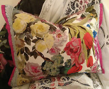 "DESIGNERS GUILD ORANGERIE ROSE PANEL FABRIC BOLSTER COVER+ PEONY TRIM 17X23""BNWO"