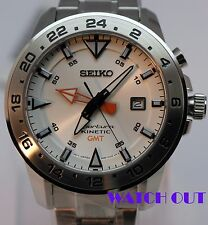 BRAND NEW SEIKO SPORTURA KINETIC GMT SUN025P1 ALL STAINLESS STEEL WRIST WATCH