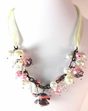 LADIES CHUNKY RIBBON MULTI LAYER PEARL STATEMENT NECKLACE UNIQUE (ST87)