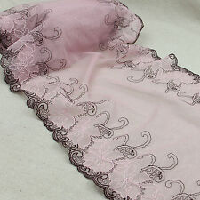 """1 Yard Pink Floral Scalloped Embroidered Lace Trim Tulle For DIY Craft Wide 12"""""""
