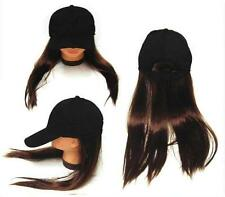 NOVELTY BASEBALL HAT WITH LONG BROWN HAIR costume dressup ball cap mens women