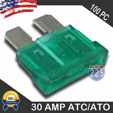 100 Pack 30 AMP ATC/ATO STANDARD Regular FUSE BLADE 30A CAR TRUCK BOAT MARINE RV