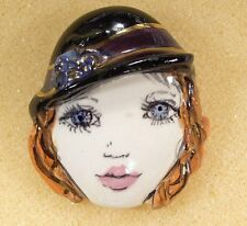 VINTAGE LADY HEAD woman FACE large Porcelain Pin Brooch Classic Handmade Glam