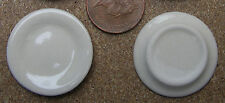 1:12 Scale 2 x Round Cream Plates 3cm Diameter Dolls House Miniature Ceramic C3