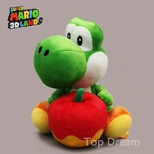 Super Mario Bros. Yoshi with Apple Stuffed Toy Plush Doll GREEN 18cm/7'' Cute