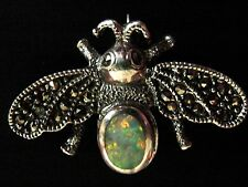 Solid Silver Marcasite Gilson Opal Bee Brooch Bug Insect Pin Deco style Boxed