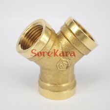 """Y 3 Ways Brass Pipe fitting Connector 1/2"""" BSP Equal Female Thread For Water"""