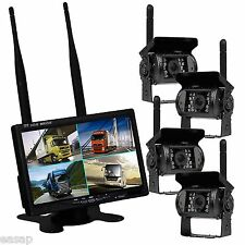 "7"" Wireless Quad 4Ch Digital Car Monitor+4x IR Backup Rearview Truck CCD Camera"