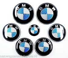 7pcs BlueSilver Carbon Fiber Style Emblem Logo Badge Set -BMW