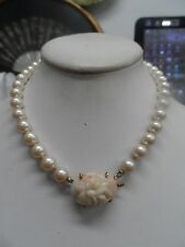 """fine vintage 8.3mm pearl 16"""" necklace with carved 14kt gold coral clasp"""