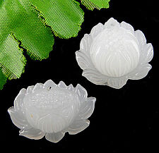 2PCS Beautiful White Jade Carved lotus pendant bead BC277