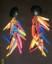 Colourful Tribal African Ethnic Clip on Dangly Wooden Earrings Vintage