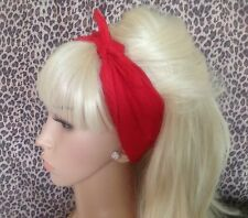PLAIN RED COTTON FABRIC SQUARE BANDANA HEAD HAIR NECK SCARF 50s PIN UP RETRO