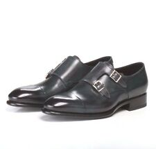 SANTONI *LUXURY GOODYEAR* NEW COLLECTION/Brushed Dark Green Monks Shoes 7 US