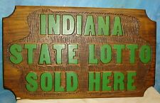 Vintage INDIANA State Lottery Sold Here Store Hoosier/Wall/Window Wood Sign S223