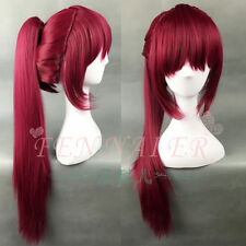 Gou Matsuoka Long Purple Red Straight Cosplay Clip Ponytail Women Full Hair Wig