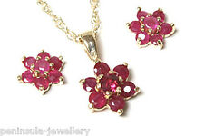 9ct Gold Ruby Pendant and Earring Set Gift Boxed Made in UK