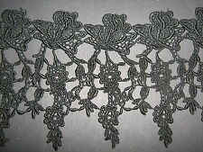 Black  Rose Venise Lace Trim 1 Metre    Sewing/Costume/Crafts/Corsetry