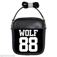EXO XOXO WOLF 88 Black Leather Sling Crossbody Bags Wallet Purse