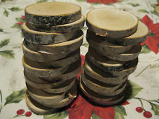 """25 BIRCH WOOD SLICES WOODEN CRAFTS WEDDING ORNAMENTS COASTERS DRIED 2 1/2 """" - 3"""""""