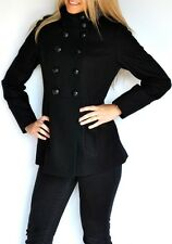 New Womens Miss Sixty Wool Military Style Coat Peacoat Black Jacket Medium