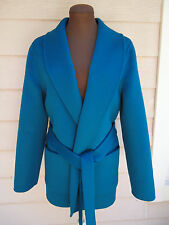 NEW $2750 Michael Kors Collection Coat 6 Plush Belted Teal Peacock Wool Cashgora