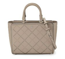 NWT Tory Burch Robinson Crosshatch Small Zip Tote Bag French Grey MSRP $550