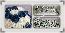 WEDDING PACKAGE ARTIFICIAL FLOWERS FOAM ROSE BOUQUETS - TEAL IVORY BRIDE POSIE